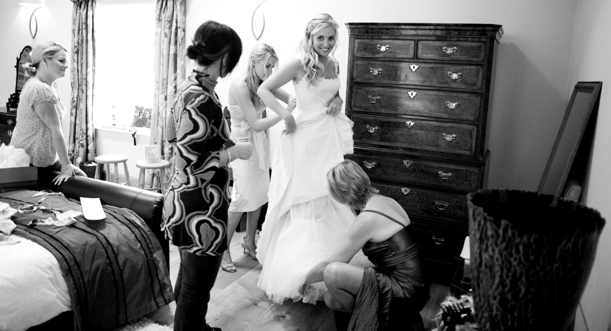 the chaos around a bride getting ready at a wedding in Yorkshire