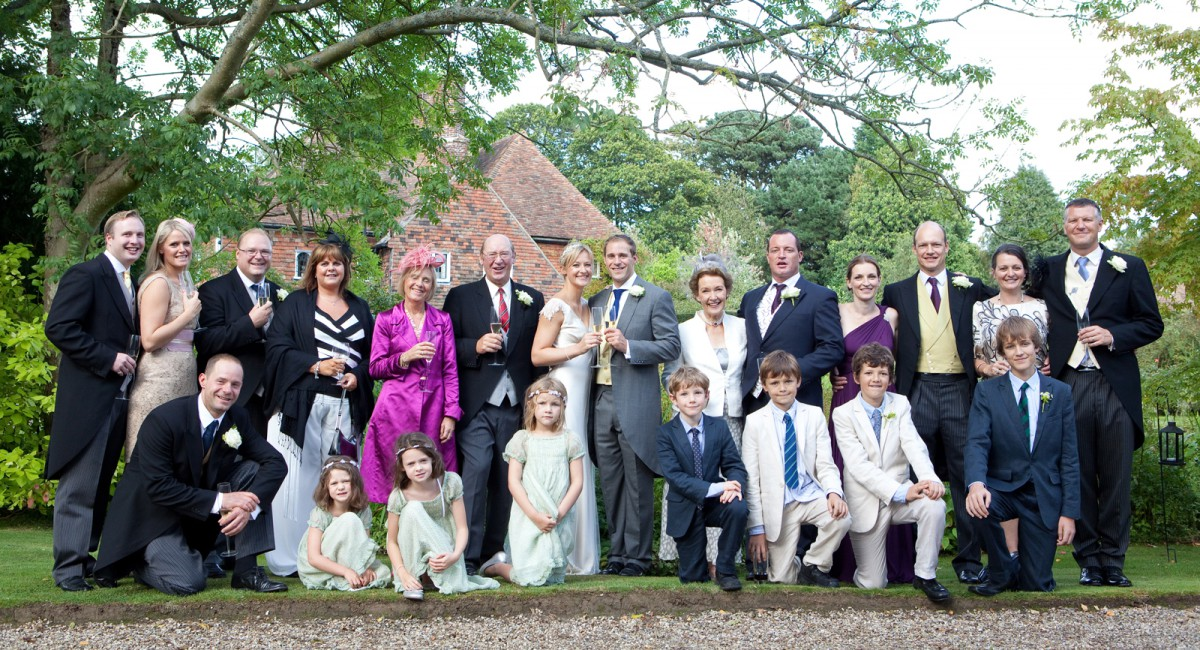 group shot at a wedding in kent