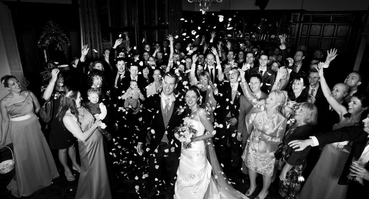 confetti shot in the evening wedding picture inside